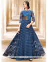 Glossy Embroidered Work Satin Navy Blue Readymade Gown