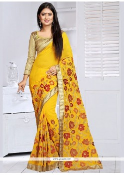 Chic Faux Georgette Embroidered Work Designer Saree