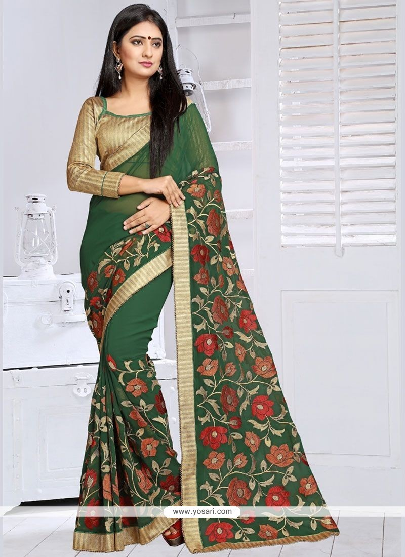 Classical Lace Work Faux Georgette Designer Saree