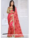 Rose Pink Embroidered Work Faux Georgette Classic Saree