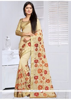 Haute Embroidered Work Faux Georgette Saree