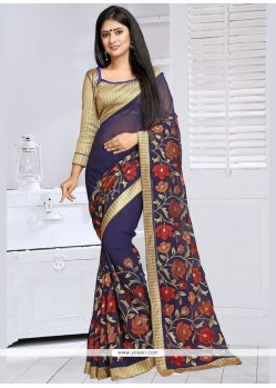 Catchy Faux Georgette Embroidered Work Designer Saree