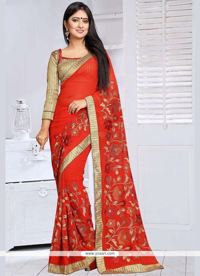 Extraordinary Lace Work Classic Saree