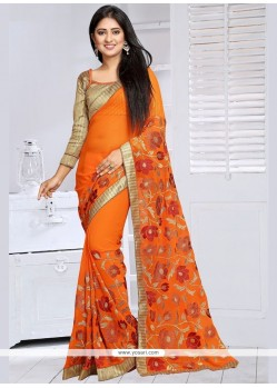 Beckoning Orange Lace Work Classic Designer Saree