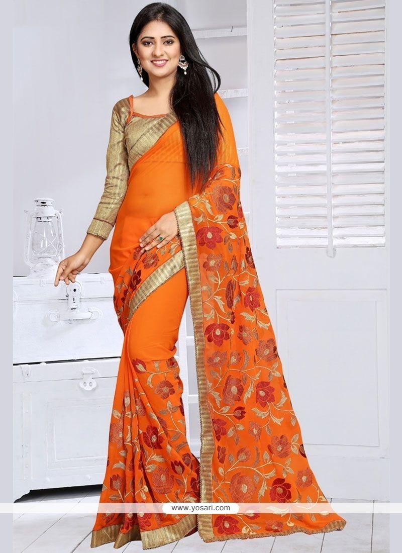 Beckoning Orange Lace Work Classic Designer Saree