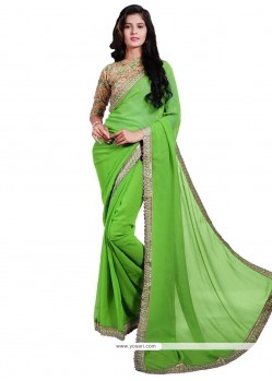 Sorcerous Embroidered Work Green Faux Georgette Classic Designer Saree