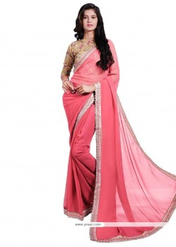 Alluring Faux Georgette Patch Border Work Classic Saree