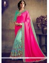 Sterling Embroidered Work Hot Pink And Sea Green Half N Half Designer Saree