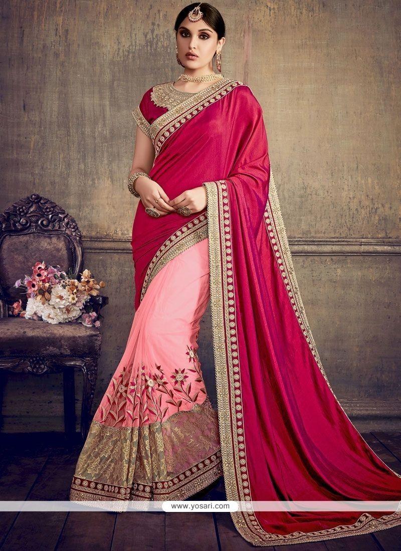 Customary Net Magenta And Pink Designer Half N Half Saree