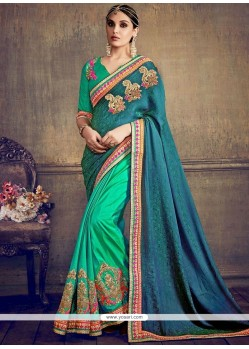Voguish Jacquard Embroidered Work Designer Half N Half Saree