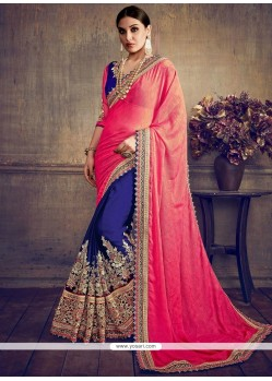 Titillating Embroidered Work Navy Blue And Pink Half N Half Trendy Saree