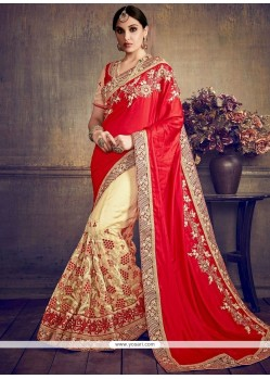 Amusing Beige And Red Zari Work Art Silk Half N Half Designer Saree