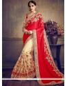 Amusing Beige And Red Zari Work Art Silk Half N Half Designer Saree
