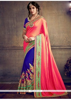 Celestial Blue And Rose Pink Embroidered Work Half N Half Saree