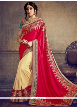 Alluring Art Silk Beige And Red Embroidered Work Designer Half N Half Saree