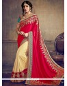 Alluring Art Silk Beige And Red Embroidered Work Designer Half N Half Saree