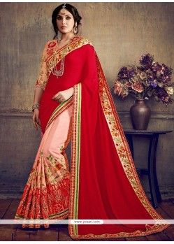 Pink And Red Embroidered Work Faux Georgette Half N Half Designer Saree