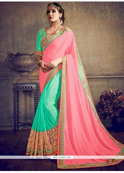 Flamboyant Zari Work Pink And Turquoise Half N Half Saree