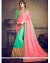 Flamboyant Zari Work Pink And Turquoise Half N Half Saree