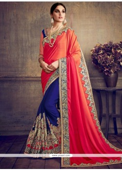 Especial Faux Chiffon Embroidered Work Designer Half N Half Saree