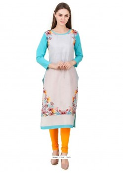Immaculate Print Work Multi Colour Party Wear Kurti