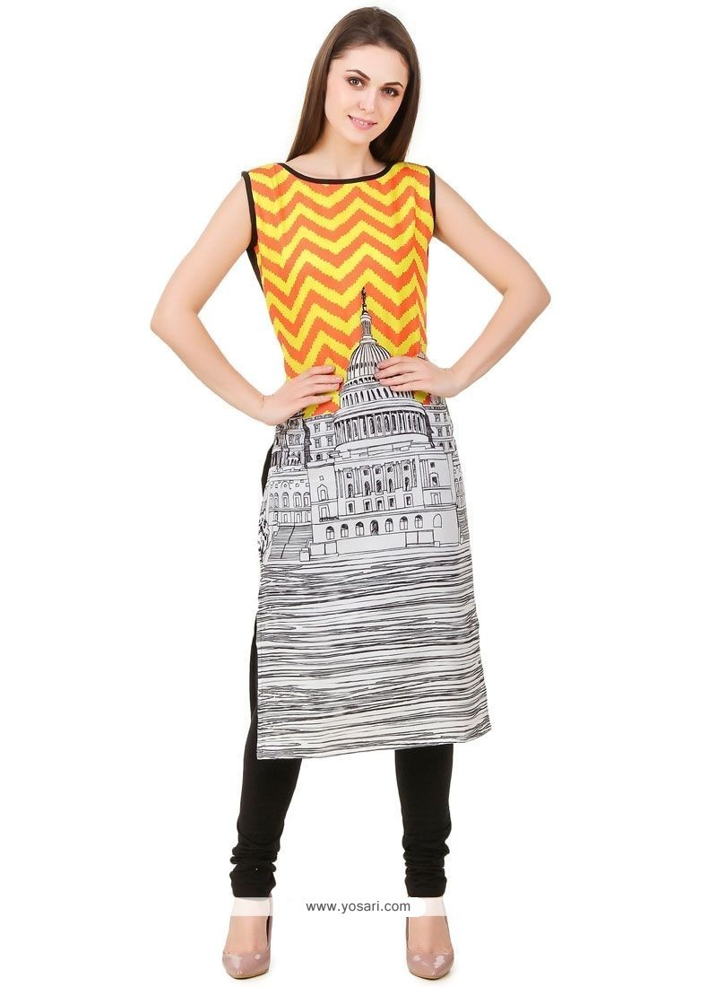 Sensible Faux Crepe Multi Colour Print Work Party Wear Kurti