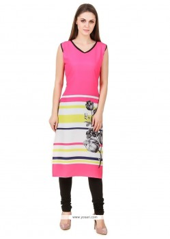Alluring Print Work Faux Crepe Pink Party Wear Kurti