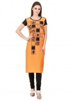 Print Faux Crepe Party Wear Kurti In Orange