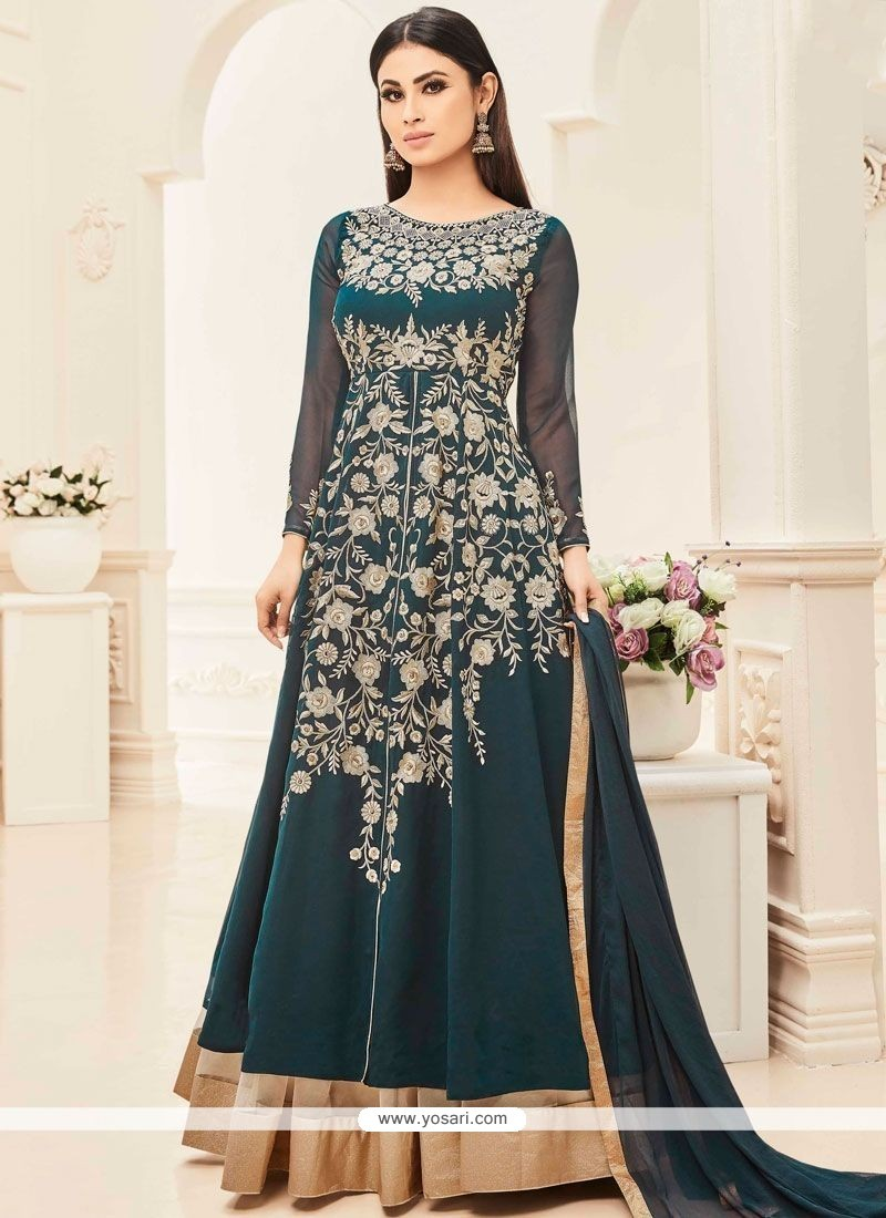 Mouni Roy Teal Long Choli Lehenga
