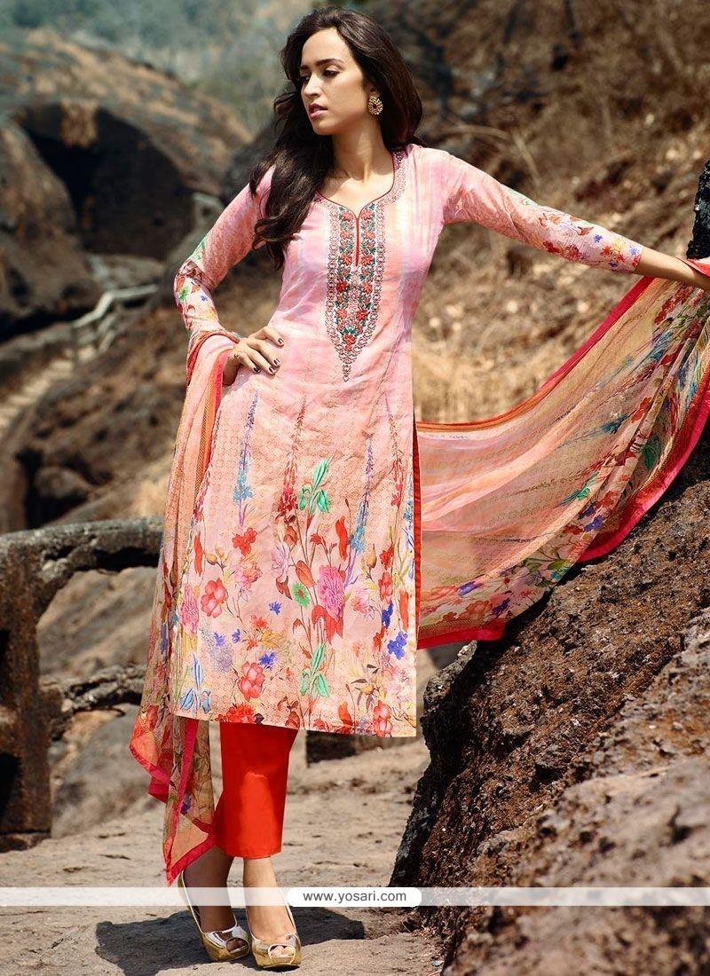 Impeccable Print Work Cotton Multi Colour Pant Style Suit