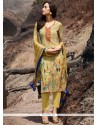 Pleasing Multi Colour Print Work Pant Style Suit