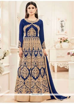 Mouni Roy Navy Blue Embroidered Work Floor Length Anarkali Salwar Suit