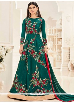 Mouni Roy Teal Floor Length Anarkali Salwar Suit