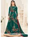 Mouni Roy Teal Floor Length Anarkali Salwar Suit