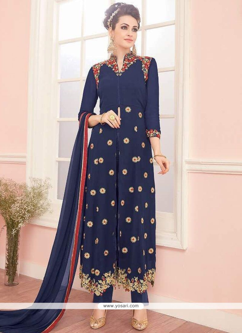 Piquant Navy Blue Resham Work Faux Georgette Designer Suit