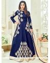 Krystle Dsouza Navy Blue Embroidered Work Anarkali Salwar Suit