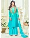 Krystle Dsouza Tafeta Silk Lace Work Designer Palazzo Salwar Kameez