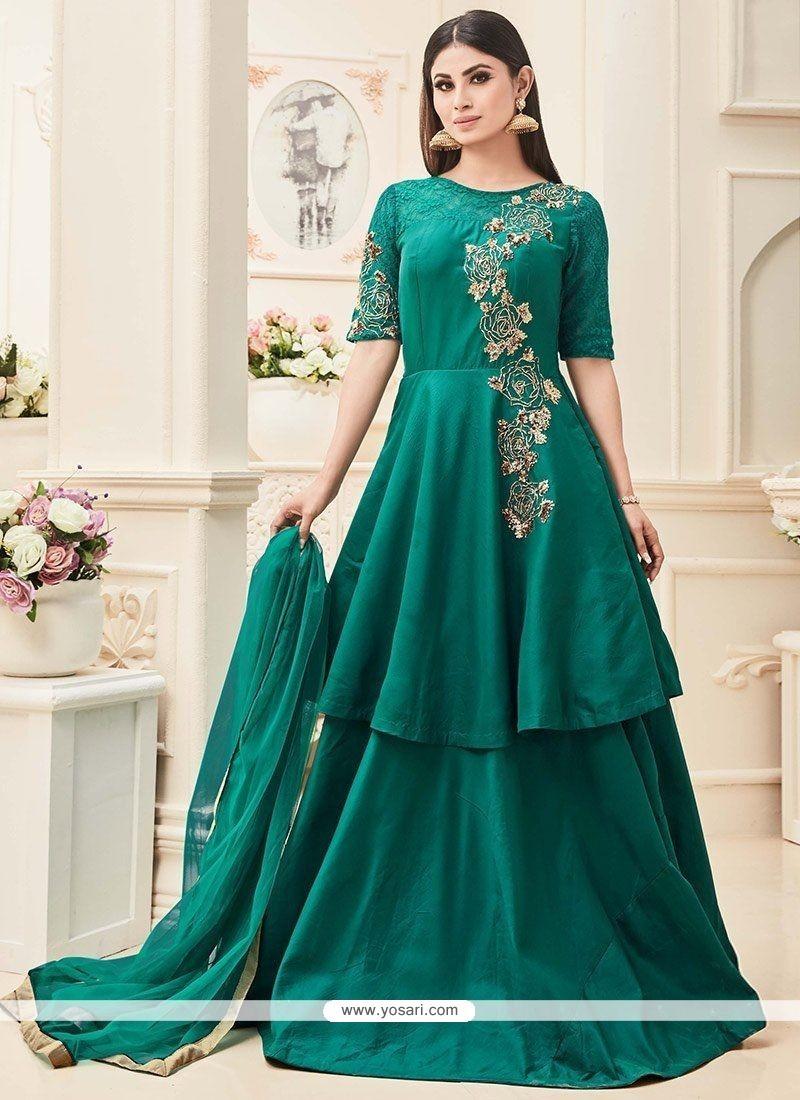 Buy Mouni Roy Tafeta Silk Anarkali Salwar Suit | Wedding Suits
