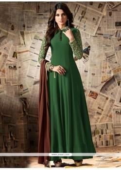 Jennifer Winget Green Designer Floor Length Suit