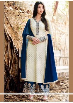 Competent Faux Georgette Navy Blue And Off White Embroidered Work Designer Palazzo Suit
