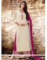 Girlish Embroidered Work Magenta And Off White Faux Georgette Designer Palazzo Suit