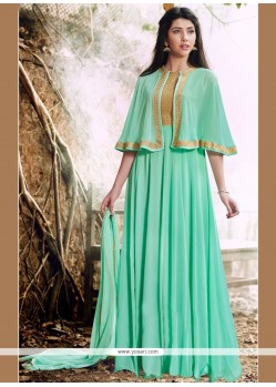 Artistic Lace Work Turquoise Faux Georgette Designer Floor Length Suit