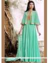 Artistic Lace Work Turquoise Faux Georgette Designer Floor Length Suit