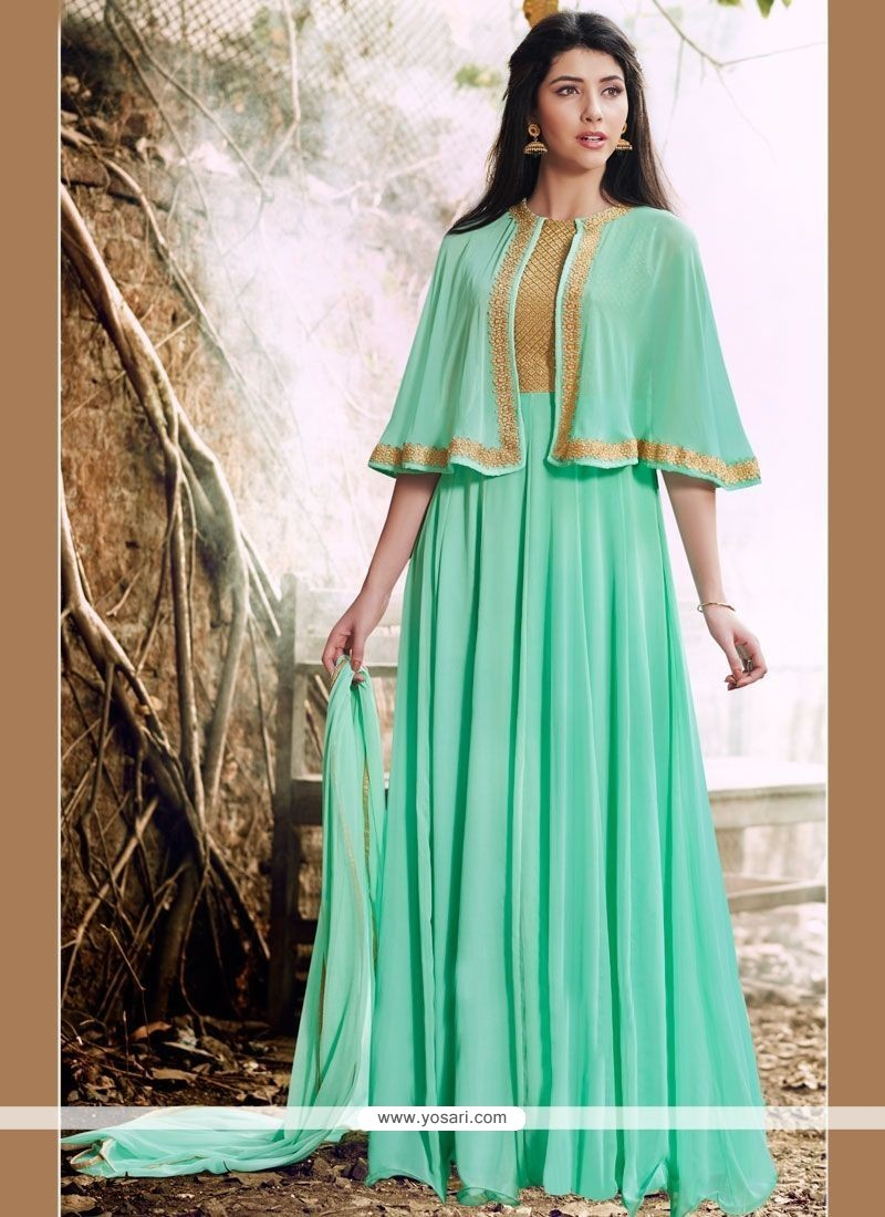 Buy artistic lace work turquoise faux georgette designer for Floor length suits