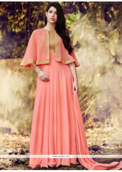 Superlative Faux Georgette Embroidered Work Designer Floor Length Suit
