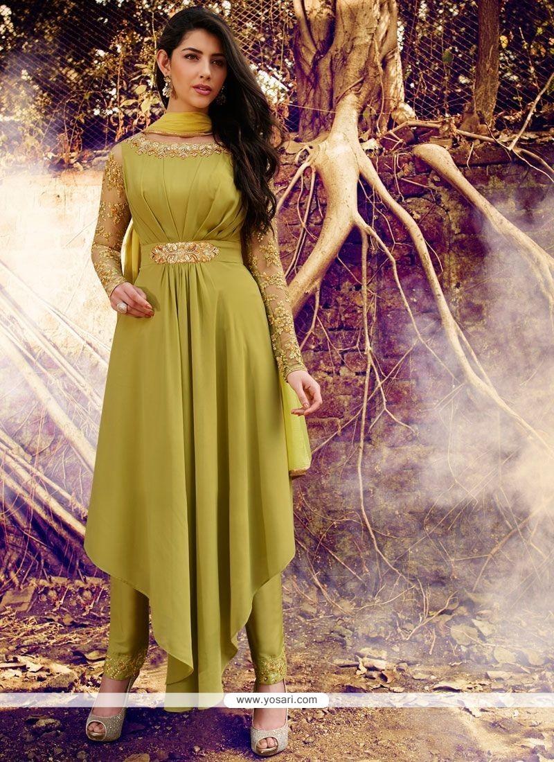 Compelling Faux Georgette Green Resham Work Designer Suit