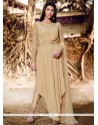 Fetching Faux Georgette Beige Embroidered Work Designer Suit