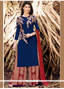 Marvelous Faux Georgette Embroidered Work Designer Palazzo Salwar Kameez