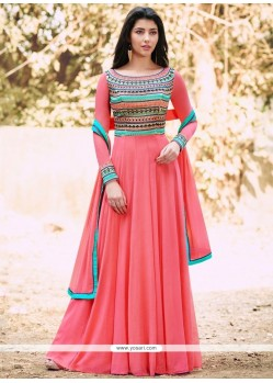 Energetic Rose Pink Designer Floor Length Suit