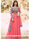 Energetic Rose Pink Designer Floor Length Suit